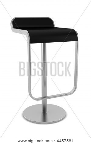Black Bar Chair Isolated On White Background