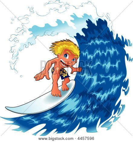Nice Boy Is Surfing