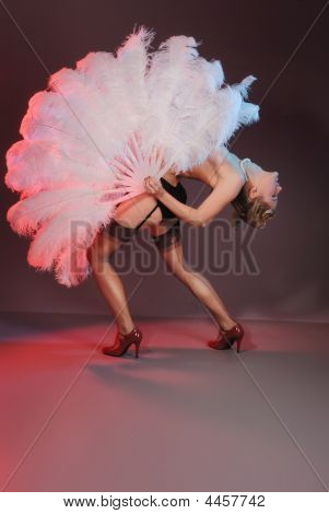 Burlesque Artist With Ostrich Feather Fan