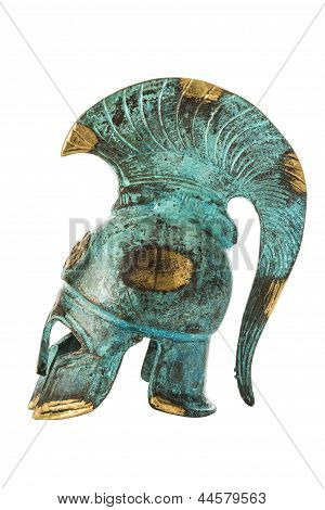 Souvenir Ancient Brass Greek Helmet Over White