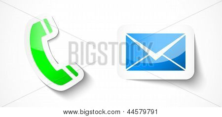 Sticker Style Phone And Mail Design Elements