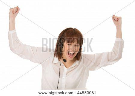Jubilant Woman Cheering