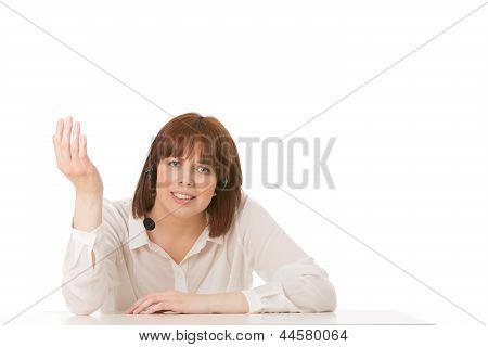 Woman Wearing A Headset Explaining