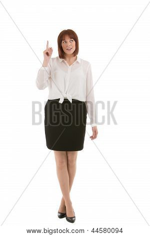 Attractive Businesswoman Pointing Above Her Head