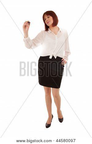 Woman Writing On A Blank Interface