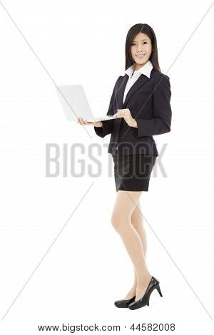 Young Asian Businesswoman Holding Laptop
