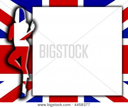 Blank Sign With Sexy Uk Flag Female