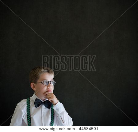 Hand On Chin Head Thinking Boy Dressed Up As Business Man