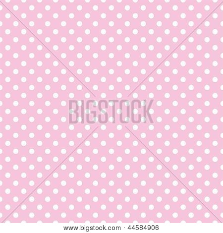 Seamless vector pattern with small white polka dots on a pastel pink background.