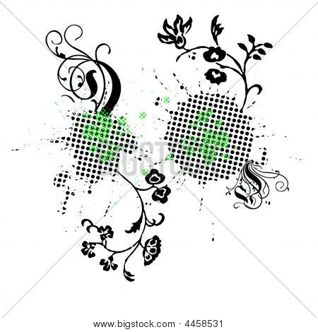 Black Green Dotted Floral Background