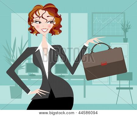 Female Executive with Office Background
