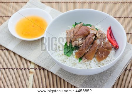 Pork leg with rice
