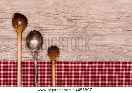 Wooden And Silver Spoon With Text Space