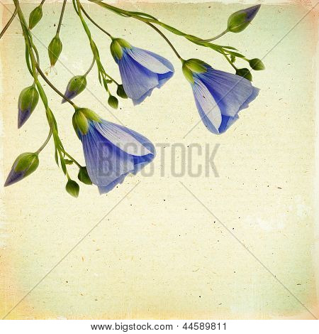 Vintage Floral Background With Flowers On A Brown Linen Background Old Paper Grunge, For Any Of Yo