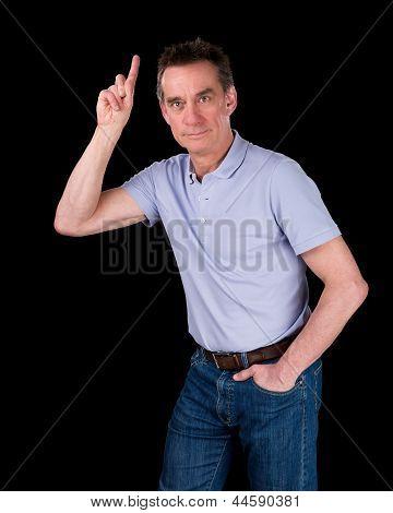 Handsome Man Hands Pointing Upwards
