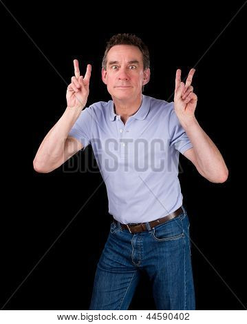 Man Pulling Face Making Two Finger Sign