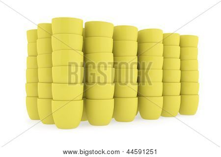 Yellow Ceramics Flowerpot Set, Rendered Models