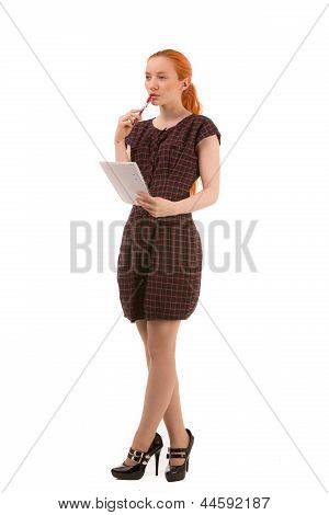 Thoughtful Woman Holding A Notepad