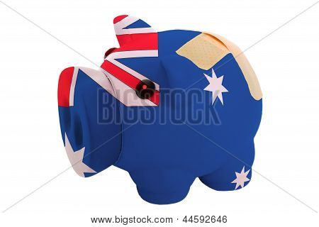 Closed Piggy Rich Bank With Bandage In Colors National Flag Of Australia
