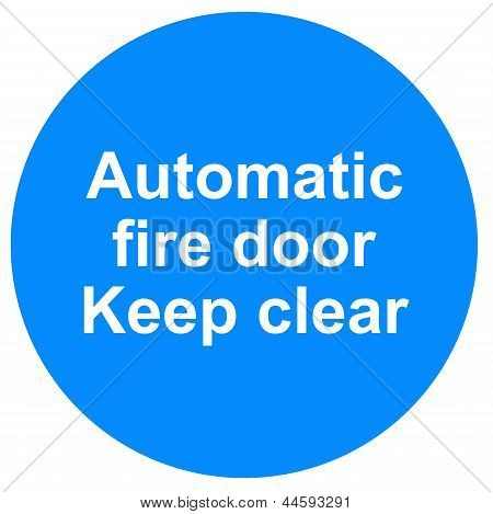 Automatic fire door sign