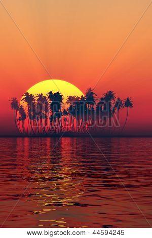 Silhouette Of Island Sunset