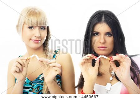 Two Beautiful Girls Break Up Smoking