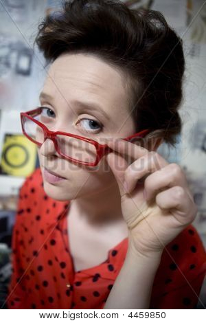 Comic Portrait Of Funny Girl Wearing Vintage Dress And Comic Glasses