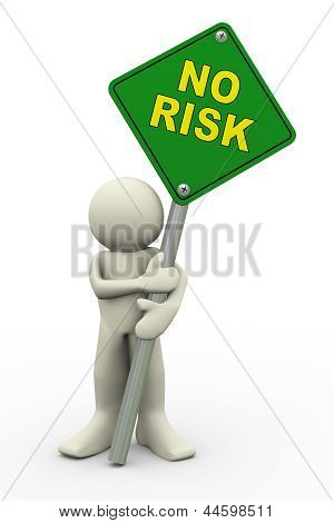 3D Man With No Risk Sign Board