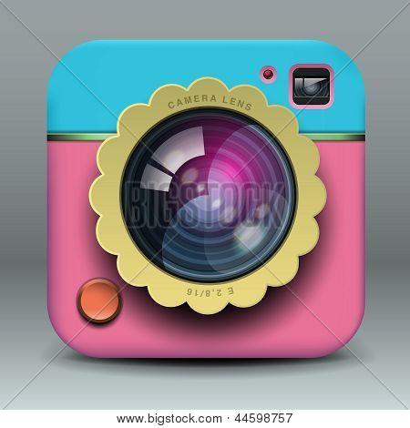 App design pink photo camera icon