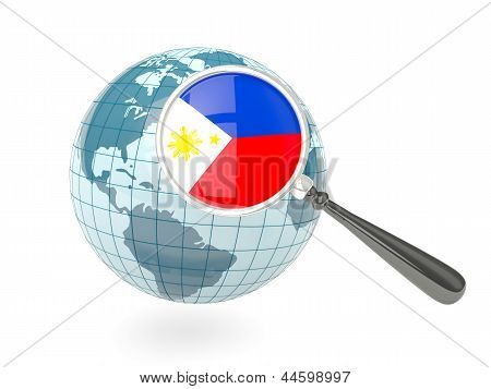Magnified Flag Of Philippines With Blue Globe