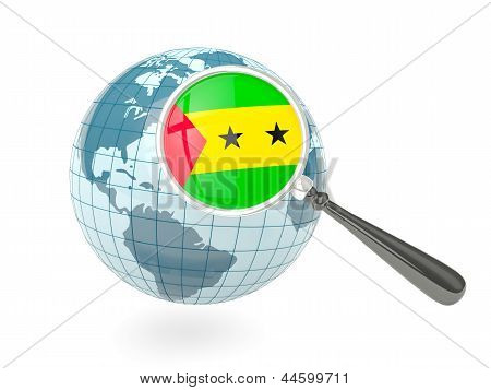 Magnified Flag Of Sao Tome And Principe With Blue Globe