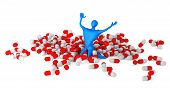 Happy 3D Man Among Pills