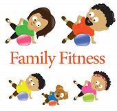 foto of obesity children  - Illustration of a family exercising with stability ball - JPG