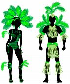 picture of monokini  - Vector Illustration Couple for Carnival Green Costume Silhouettes with a man and a woman - JPG