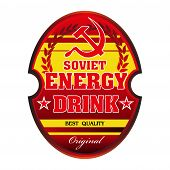 image of hammer sickle  - Red soviet energy drink label with soviet symbols isolated on a white background - JPG