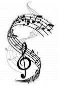 stock photo of treble clef  - Abstract art music background with musical notes for entertainment design - JPG