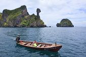 Krabi Thailand-april16:unidentified Visitor Sailing On Long Tail Boat Around Koh Kai Island Beautifu