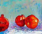 foto of pomegranate  - Original oil painting of tasty pomegranate fruit  - JPG