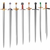 stock photo of rapier  - Set of medieval swords with different hilts  - JPG