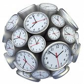 stock photo of analog clock  - Wall clock concept with wall clock in form of sphere - JPG