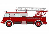 stock photo of ladder truck  - Retro fire truck with a ladder on a white background - JPG