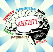 foto of upset  - Abstract colorful background with brain shape and the word anxiety with other related words written on the brain - JPG