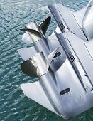image of outboard engine  - Outboard Motor Propeller of my boat in a harbour - JPG