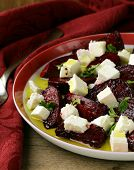 picture of beet  - salad of roasted red beets and feta cheese with olive oil - JPG