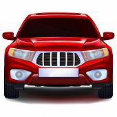 stock photo of four-wheel drive  - Red crossover car with blank number plate - JPG