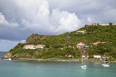 Expensive villas and boats at St. Jean Bay in St Barths