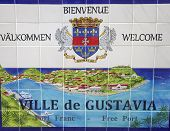 Gustavia Sign, St. Barths, French West Indies. Gustavia Is A Capital Of St. Barths