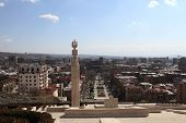image of armenia  - Pillar at cascade and Yerevan in spring Armenia - JPG