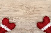 stock photo of bordure  - Wooden board with two read hearts and bordures - JPG