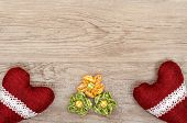 stock photo of bordure  - Advertising space on a wooden board with flowers and hearts - JPG